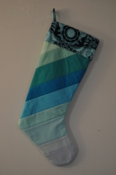 Christmas Stocking made with Kona Cotton Solids and Jane Sassaman's Garden Diva's cuff - November, 2013.