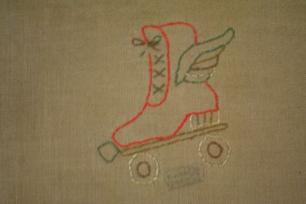 Roller Derby Themed Embroidery - April, 2013.